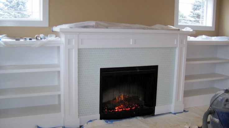 Other Design, : Delectable Fireplace Decoration Using Small White Wood Wall Fireplace Bookcase Including Light Blue Glass Tile Fireplace Surround And White Wood Shelf Over Fireplace