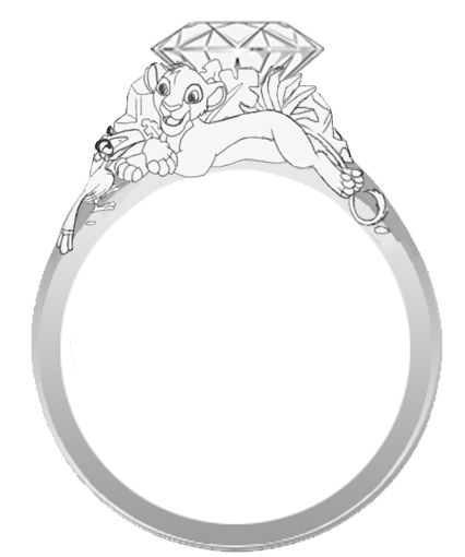 THIS NEEDS TO BE A THING> Disney's The Lion King engagement ring with Simba and Zazu.