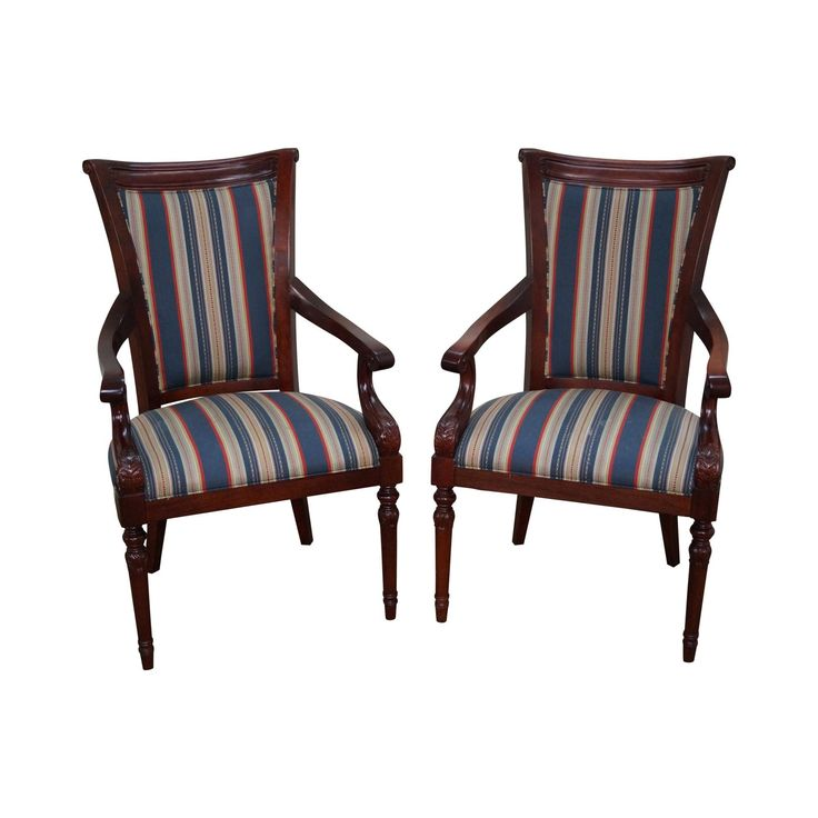 "Solid Mahogany Pair of Regency Style Arm Chairs by New Mackenzie LTD   AGE/COUNTRY OF ORIGIN: 2005, America  DETAILS/DESCRIPTION: High quality, American made, pair of solid mahogany frame high back arm chair, labeled New McKenzie Ltd.  CONDITION REPORT: Minor stain to upholstery, Clean vintage condition  MEASUREMENTS: H:43.5"" x W: 26.25"" x D: 26.25"" x Seat H: 21"" x Arm H: 27.5"""