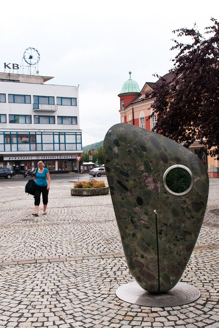 A stone sculpture of the asteroid, which was created according to the actual Vsetin asteroid discovered in 1998. (Vsetín, Dolní náměstí)
