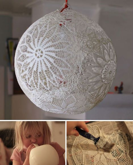 Lace doilies aren't exactly fashionable home decor any more, but if you've still got some laying around – even if they're ripped and otherwise unusable – they can be turned into a pretty globe lantern using glue and a balloon. Other items that might work include lace handkerchiefs and tablecloths.