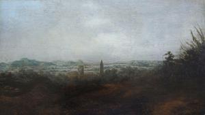 Segers - Panoramisch Landschap met Twee Torens (arnhem), paneel, 18.4 x 32.8 cm, ca. 1625-30.