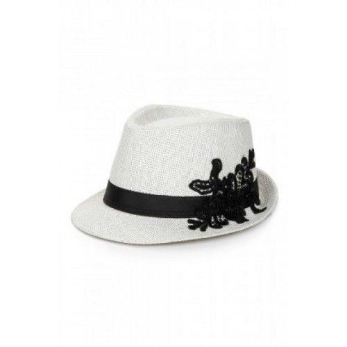 Hasır Şapka, Fötr, Beyaz, Siyah Güpür Dantelli