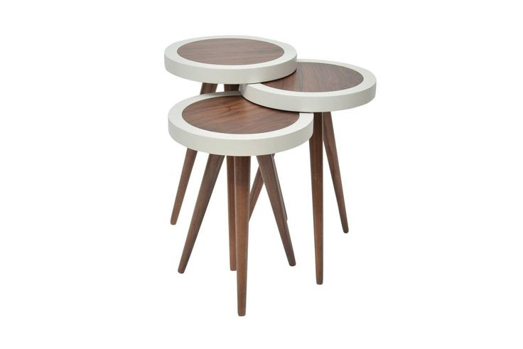 """TV Tray, Coffee Table Round Walnut Wood outside White Color 3 pcs.15""""X15""""X H:24"""""""