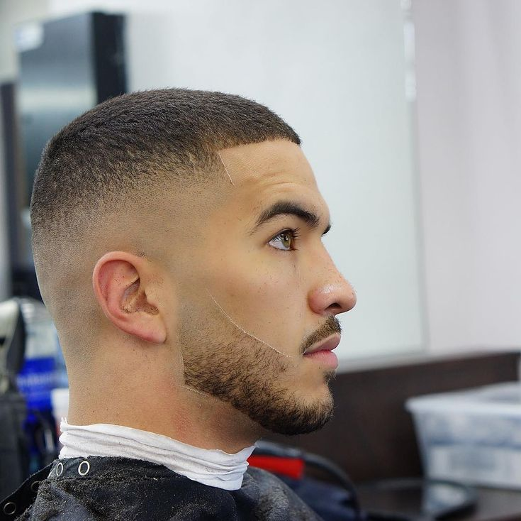 simple short hair with bald fade
