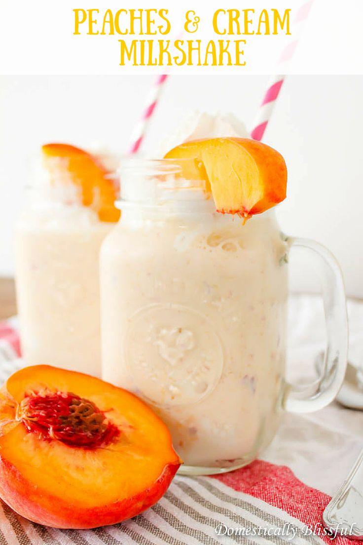 Peaches & Cream Milkshake recipe that is perfectly sweet and creamy!