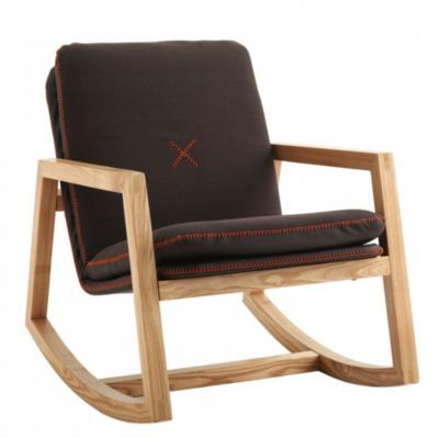 Brook fauteuil bascule bois tissu chocolat rocking for Fauteuil eames rocking chair