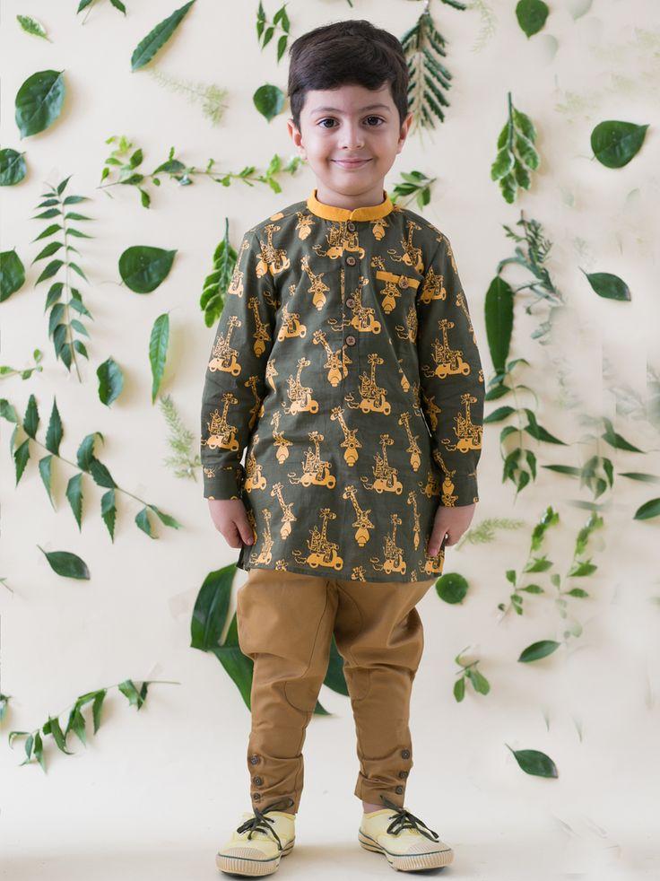 Buy Olive Green Jungle Print Kurta Shirt