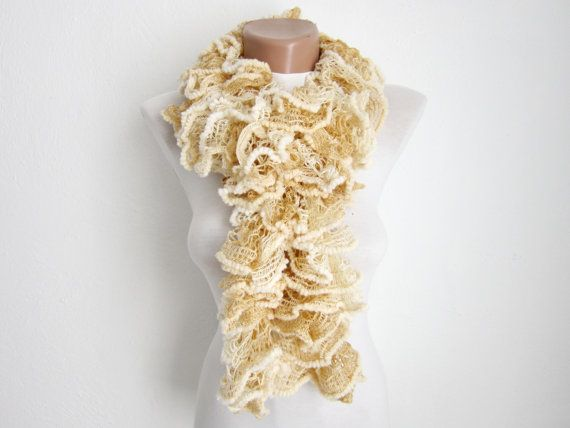 Cream Knit Scarf Fall Fashion Frilly scarf Ruffled by scarfnurlu