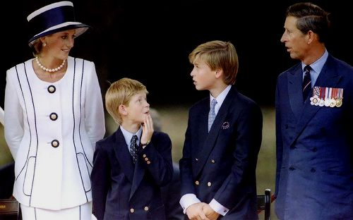 """""""August 19, 1995: The Prince and Princess of Wales, Princes William and Harry, attend VJ (Victory over Japan) Day ceremonies. """""""