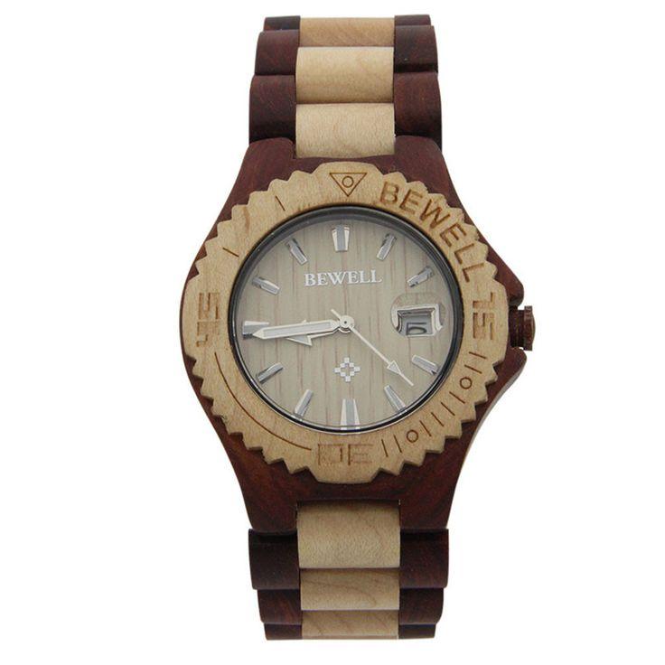 Handmade Bewell Wood Waterproof Watch Quart Movement Neutral Wooden