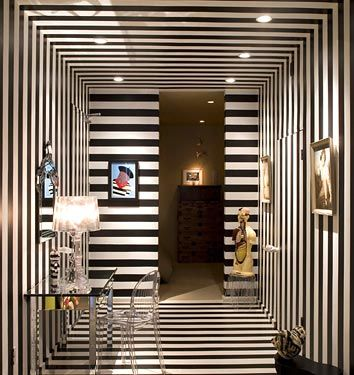 A Hallway Covered in Stripes: Turnstile, Stripes Wall, Hallways, Black And White, Interiors Design, Strips, Art Deco Interiors, White Interiors, Black White Stripes