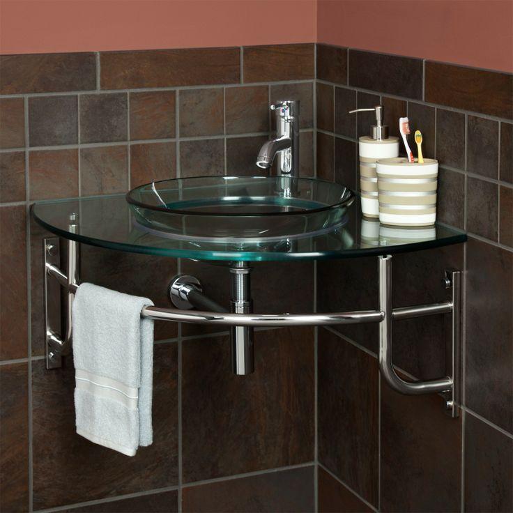 Ardmore Clear Glass Wall Hung Corner Sink - Bathroom Sinks - Bathroom