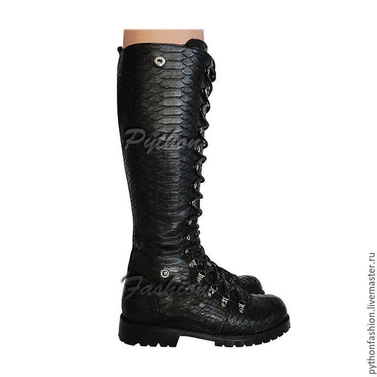 Купить Дизайнерские ботинки из питона TIMBERLONG - кожа питона, из питона, из кожи питона, питон