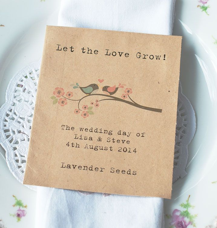Very pretty wildflower seed packet wedding favour, with two pretty little love birds on a branch! Personalised with your wedding details (you will be given the chance to tell us these during the checkout process). Please choose your seeds from the drop-down menu below - we have added a photo of the back of the packet but, of course, it will be adapted to ...