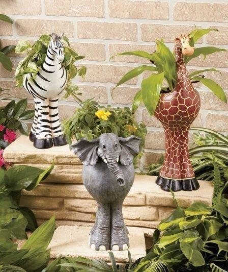Safari Animal Planters Elephant, Giraffe or Zebra Planter Home or a Garden Decor