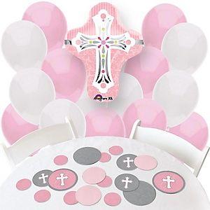 Little Miracle Girl Pink & Gray Cross - Baptism Theme | BigDotOfHappiness.com