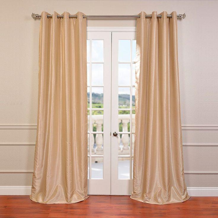 Eff EFF 1-Panel Grommet Blackout Vintage Textured Faux Silk Duponi Window Curtain