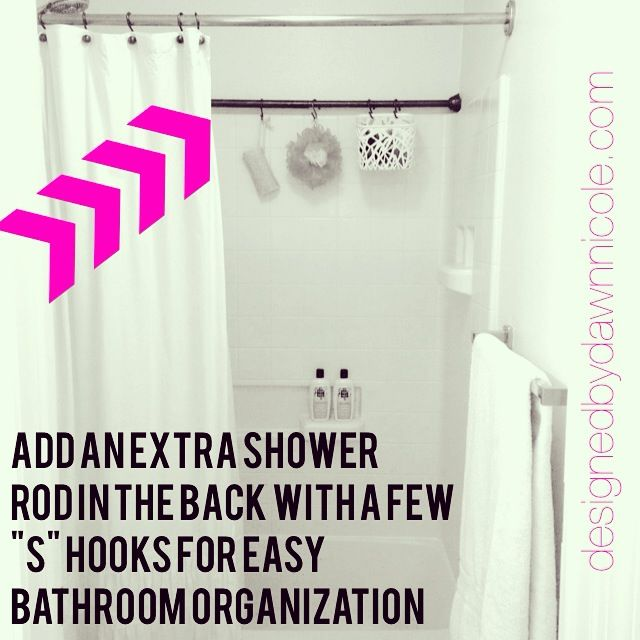 Simple Shower Organization Tip: Add a 2nd rod in the back to hang things. - DesignedbyDawnNicole.com