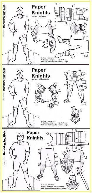 paper dolls - Knights - Preschool Activity Printable