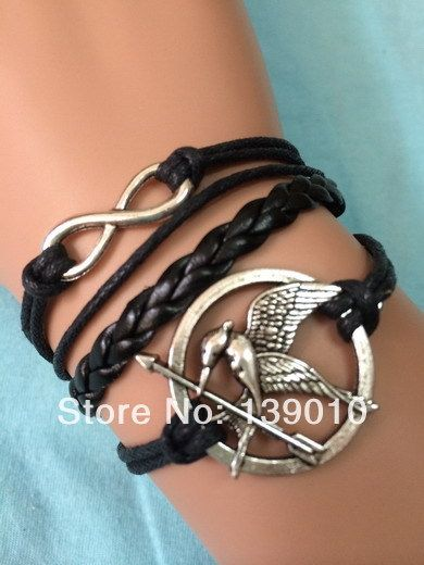 Роскошь ручной работы черная кожа веревка смешанная браслеты браслеты заявление мода женщины мужчины голодные игры птица бесконечность ювелирные изделия