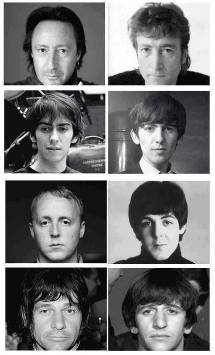 The boys and their Beatle dads! Julian and John, Dhani and George, James and Paul, Zak and Ringo.