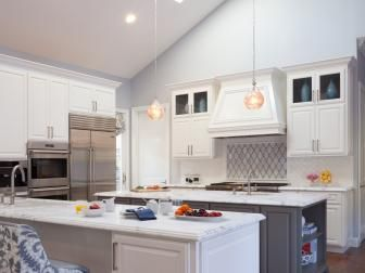 Blue Gray Transitional Kitchen With Skylights