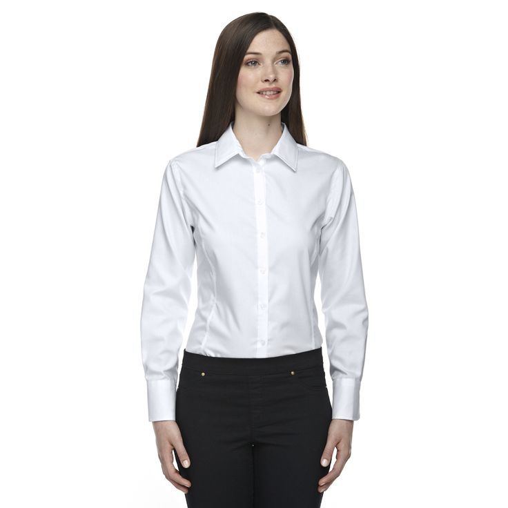 Boulevard Wrinkle-Free Women's Two-Ply 80's Dobby Taped Silver 674 Dress Shirt With Oxford Twill