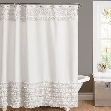 Master Bath Amelie Ruffle Shower Curtains In White