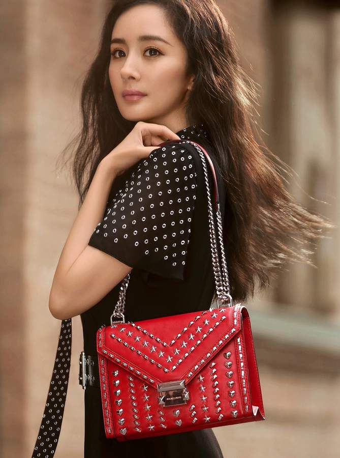 ebe2b5cd6978 Michael Kors X Yang Mi Whitney Large Studded Leather Convertible Shoulder  Bag