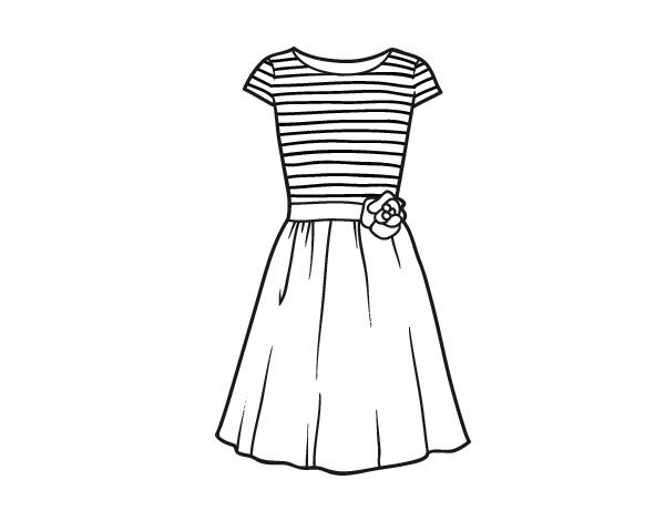 Casual Dress Coloring Page