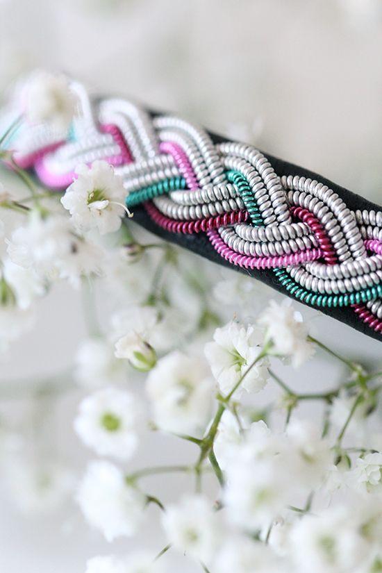 Lindas armband: Smalt tennarmband med koppartråd i rosa, cerise och turkos