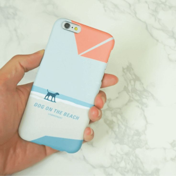 Dog and Sea Back Phone Case - Blue  Made in Korea World Wide Free Shipping