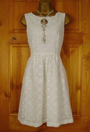 NEW EXCHAINSTORE IVORY CREAM VINTAGE 50s STYLE LACE SUMMER DRESS UK SIZE 10-18 | eBay