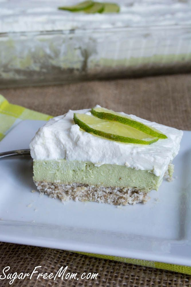 NO Bake Sugar-Free Key Lime Pie Bars also low carb and gluten free/ sugarfreemom.com