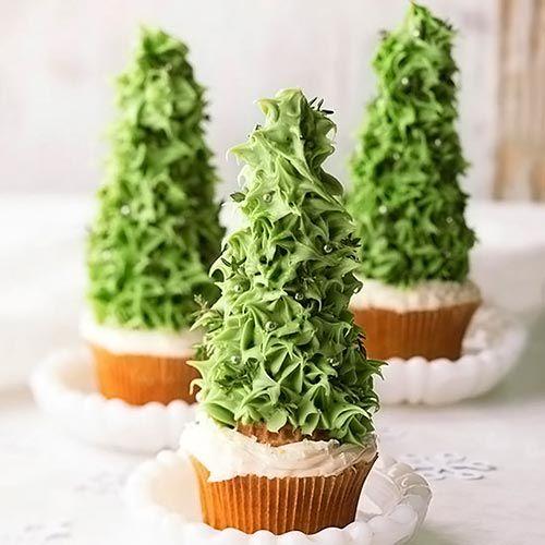 Cupcakes Árvore de natal com glacê mole
