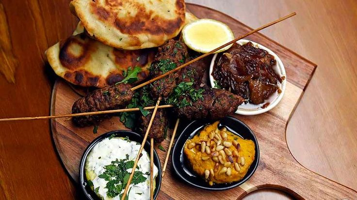 Lamb Koftas with Onion Jam, Hommus and Coriander Yoghurt
