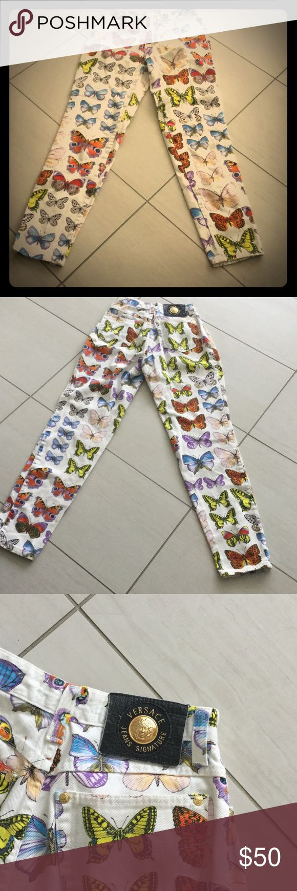 Versace Butterfly Pants Vintage White Denim Backdrop with Colorful Butterfly Design...front and back! So Retro 🎨 and Versace all the way. Versace Pants Straight Leg