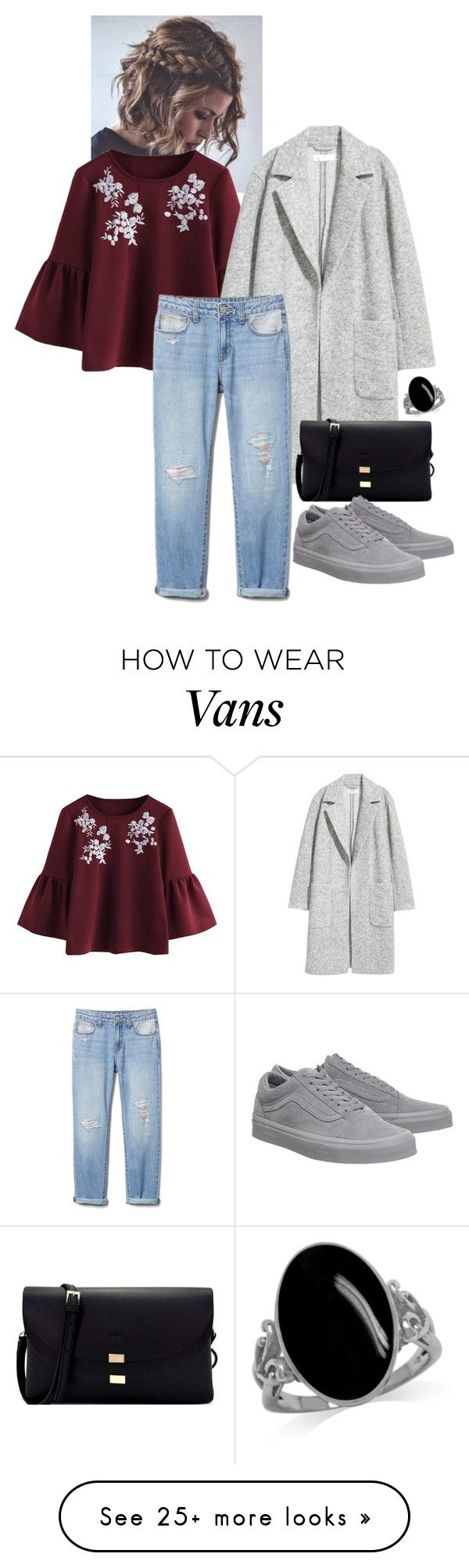 """maroon top boho"" by afashionpage on Polyvore featuring H&M and Vans"