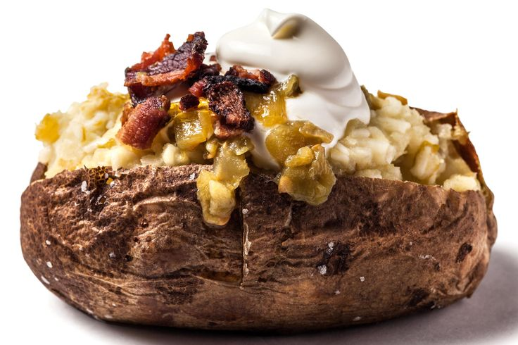 An easy recipe for twice-baked potatoes with green chiles and cheese.