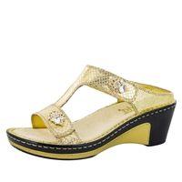 Alegria Lara Golden Unity leather comfort wedge sandal for women