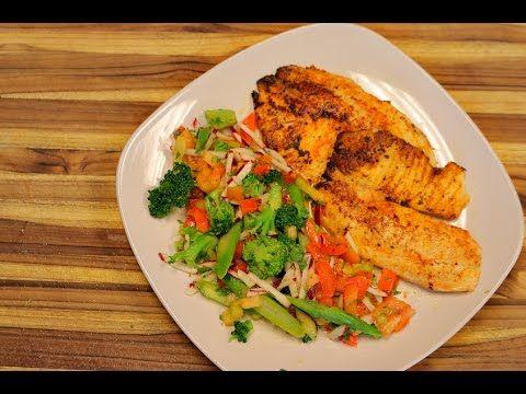 Cajun Tilapia and Vegetable Salad - healthy recipe channel - big boss ai...