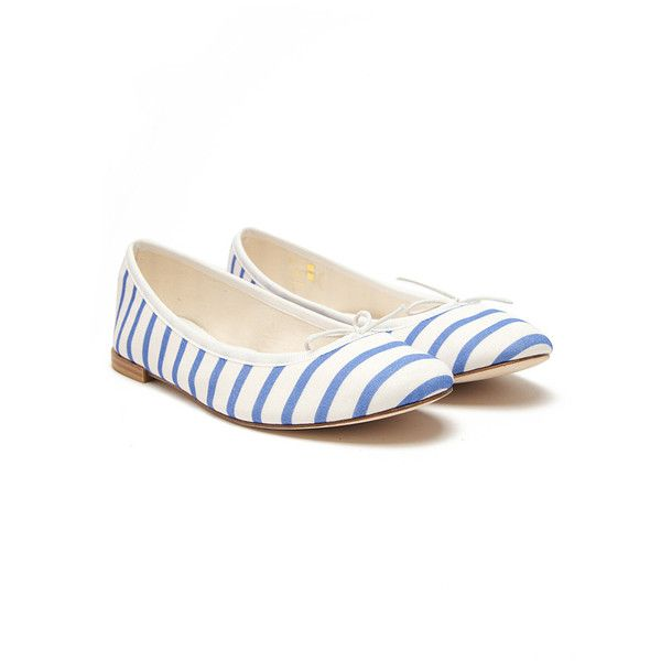 Repetto BB Striped Ballet Flat (100 CAD) ❤ liked on Polyvore featuring shoes, flats, flat ballet pumps, repetto shoes, striped ballet flats, ballerina pumps and ballet shoes