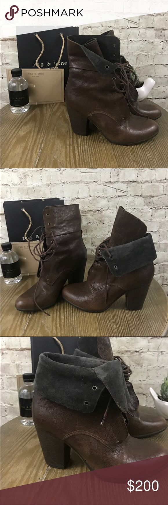 """Rag and Bone Deacon tall lace up boots Authentic . Rare Rag and Bone boots. Great condition. Amazing boots. Extremely comfortable. A couple minor scratches. Approx. heel height: 3"""". Approx. boot shaft height: 6 1/2"""". Leather upper, lining and sole. Made in Italy. Salon Shoes rag & bone Shoes Ankle Boots & Booties"""