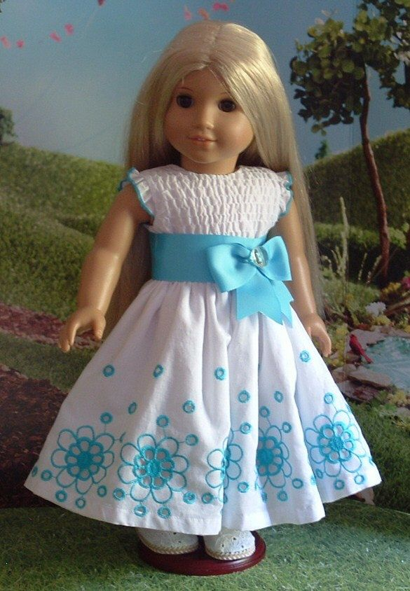 Aqua Embroidered OOAK Dress for American Girl Dolls by MyGirlClothingCo on Etsy https://www.etsy.com/listing/237735484/aqua-embroidered-ooak-dress-for-american