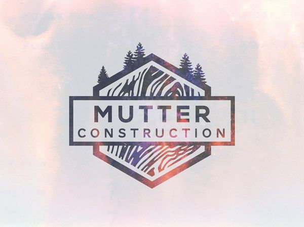 Mutter Construction by Ian Williams- love the reverse treatment of white background and photo logo on this