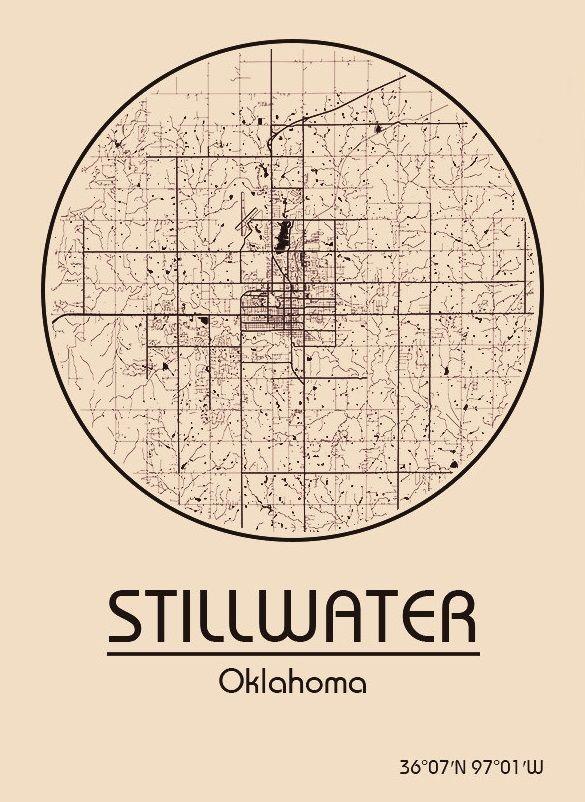 Karte / Map ~ Stillwater, Oklahoma - Vereinigte Staaten von Amerika / United States of America / USA