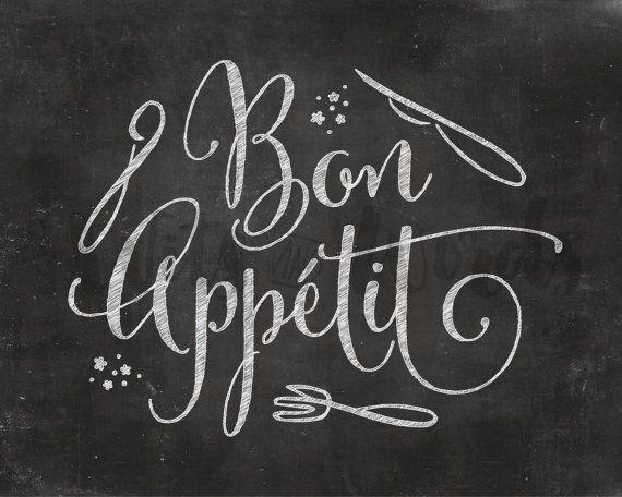 Bon Appetit / PRINTABLE Chalkboard Quote Print / par WITSandWORDS
