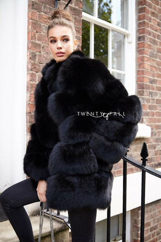 619d900c4b7 Lola Black Fox Fur Coat with Collar. Next day delivery available