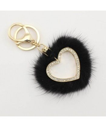 High Quality Black Mink Fur Loving Heart Keychain Wholesale Keychains